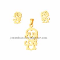 juego de dije y aretes de mono de dorado en acero inoxidable para mujer-SSSTG073260