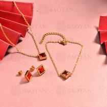 conjunto de collar y aretes en acero inoxidable -SSBNG126-15047