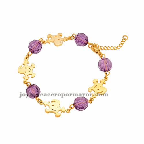 brazalete de bola cristal morado especial  en acero dorado inoxidable -SSBTG953644
