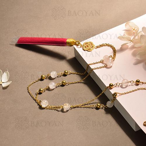 conjunto de collar y aretes en acero inoxidable -SSNEG142-15099