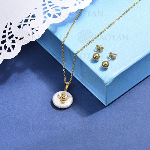 conjunto de collar de bronce y concha -SSCSG107-15864