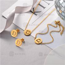 Conjunto de Pulsera Collar y Aretes en Acero Inoxidable -SSNEG126-10509
