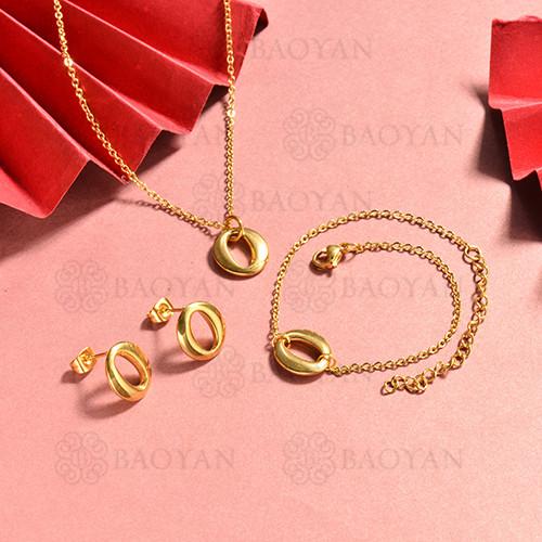 conjunto de collar y aretes en acero inoxidable -SSBNG126-15063