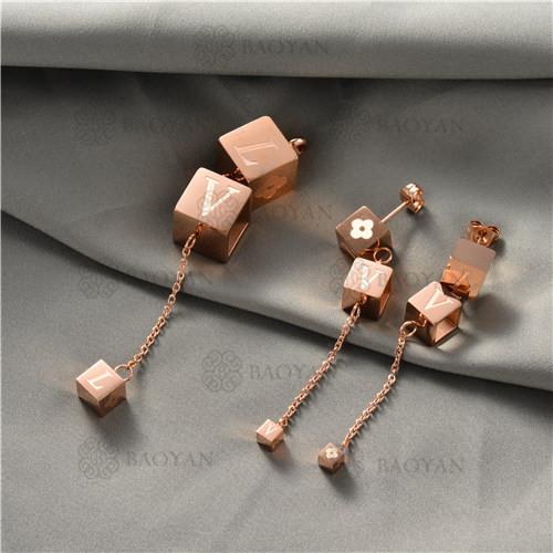 juego collar y aretes en acero inoxidable-SSNEG129-10029