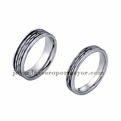 anillo de estilo simple especial en acero plata inoxidable para amantes -SSRGG971722