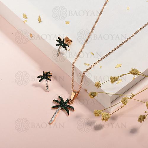 conjunto de collar y aretes en acero inoxidable -SSCSG143-15331-R