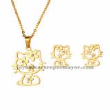 juego collar y aretes de dibujos animados gatos en acero dorado inoxidable para ninas -SSNEG802419