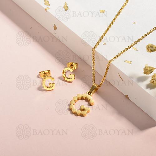 conjunto de collar y aretes en acero inoxidable -SSCSG143-15337