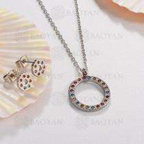 Conjunto de Collar Multi Color en Acero Inoxidable -SSNEG143-13053