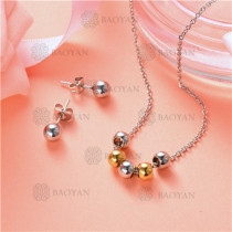 Conjunto de Collar y Aretes en Acero Inoxidable -SSNEG126-10118