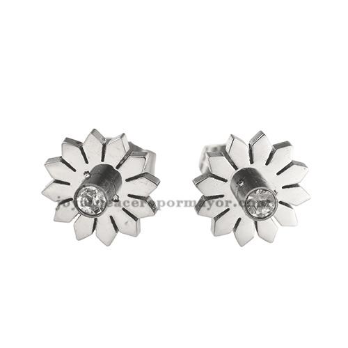 aretes de flores con brillo de acero inoxidable -SSEGG492128
