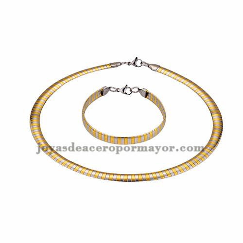 gargantilla y brazalete 8mm de dorado mezcla plateado en acero inoxidable-SSNEG462692