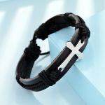 pulsera de artesanales negro con cruz en acero inoxidable de plateado-SSBTG163730
