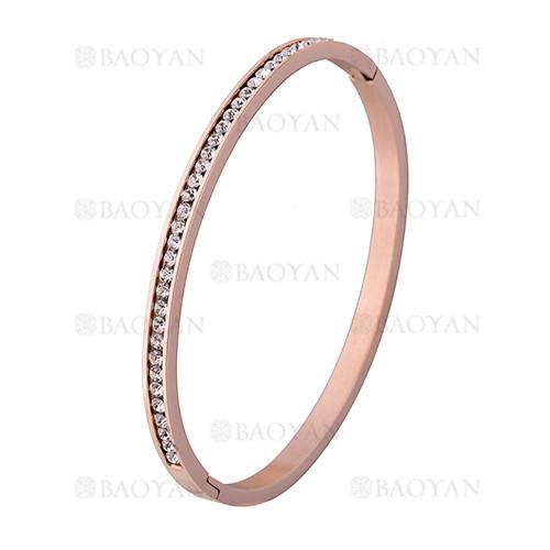 pulsera de brillante cristal en acero rosado inoxidable -SSBTG1225544