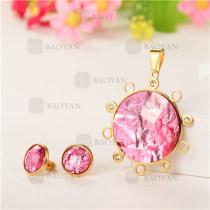 Conjunto de Cristal en Acero Dorado Para Mujer -SSSTG107-5583