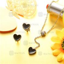 conjunto de joyas acero plateado inoxidable -SSNEG126-9609