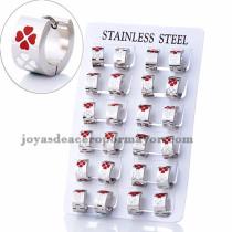 argollas 13 mm de trebol rojo y blanco  en acero plateado  inoxidable -SSEGG383959