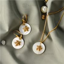 Collar con Aretes con Concha Natural en Acero Inoxidable -SSNEG143-9466