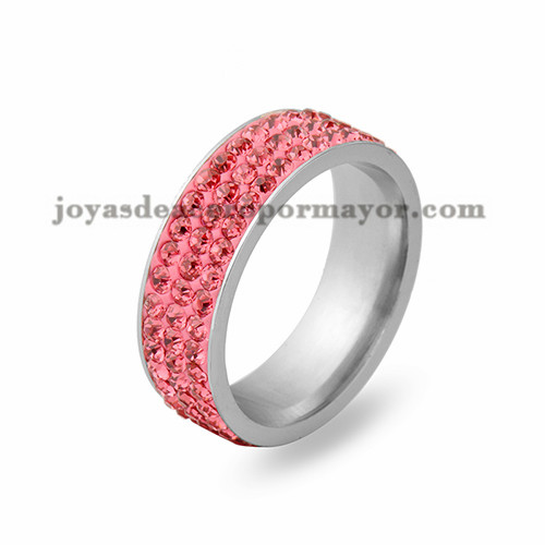 anillo con cristal de rojo en acero para mujer-SSRG243_ 4