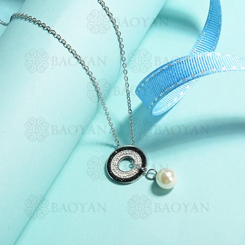 collares de acero inoxidable para mujer -SSNEG143-14836-S