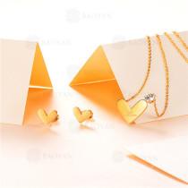 Collar con Aretes en Acero Inoxidable -SSNEG143-9391