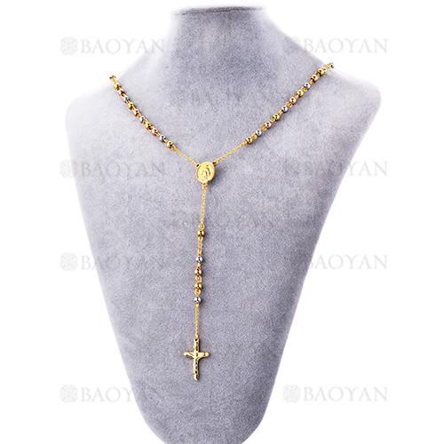 collar  rosario de bola tres colores con cruz en acero inoxidable -SSNEG953994