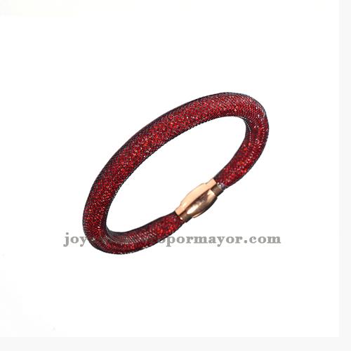 estrella rojo pulseras cristal con malla para damas