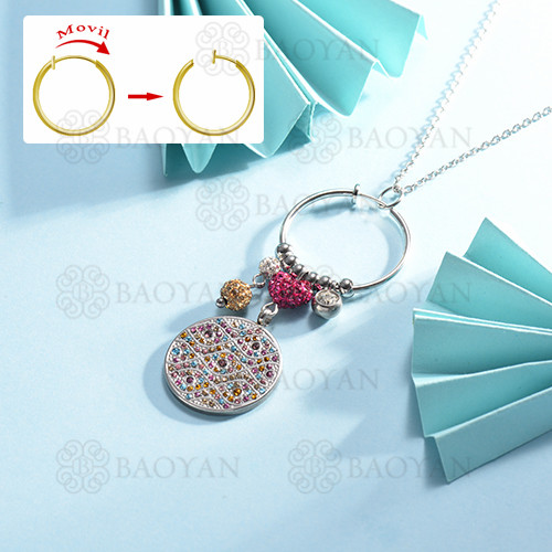 collar de multi color charm DIY en acero inoxidable -SSNEG142-14957