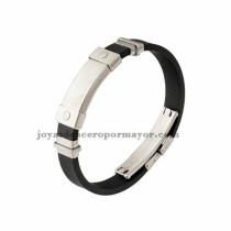 negro brazalete de silicona en acero inoxidable para hombre-SSBTG942866