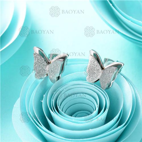 aretes de mariposa en acero inoxidable-SSEGG80-7899