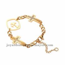 pulsera con dije de cruz de dorado en acero para mujer-SSBTG953974