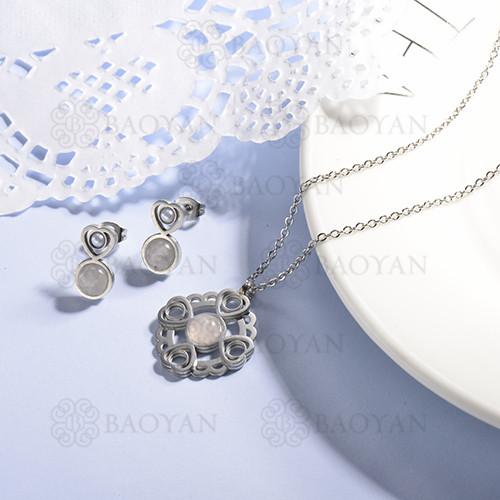 conjunto de collar y aretes en acero inoxidable -SSCSG143-15368-S
