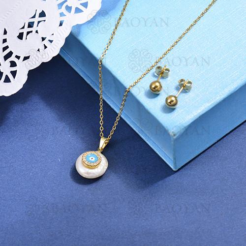 conjunto de collar de bronce y concha -SSCSG107-15872