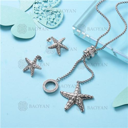 Conjunto de Collar y Aretes en Acero Inoxidable -SSNEG126-10108
