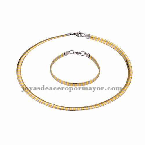 gargantilla y brazalete de dorado y plateado 6mm en acero inoxidable para mujer -SSNEG462695