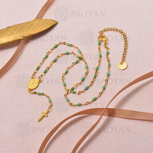 Collar de Rosario Oro Dorado en Acero -SSNEG95-16101