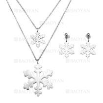 juego collar y pendientes de copa nieve en acero plateado inoxidable para mujer -SSNEG183965