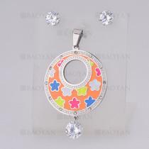 juego dije con aretes de flor con cristal de plateado en acero inoxidable-SSSTG1074744
