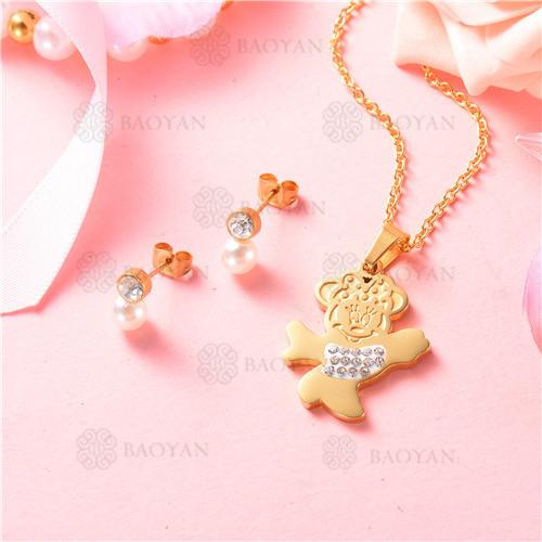 conjunto de joyas acero dorado inoxidable -SSNEG129-9705