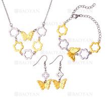 juego collar,pendientes y brazaletes de mariposa y flores especial en acero inoxidable -SSNEG1153608