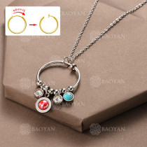 Collar DIY de Aros Movil con Charms en Acero Inoxidable -SSNEG142-12509