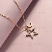 collar de acero inoxidable para mujer -SSNEG143-14823-R