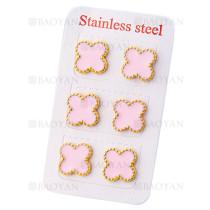 aretes de trebol rosado en acero dorado inoxidable para mujer -SSEGG404813