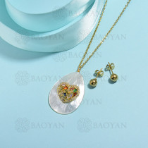 conjunto de collar de bronce y concha -SSCSG107-15846
