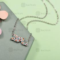 Collar de Acero Inoxidable con Cristal Multicolor -SSNEG143-12589