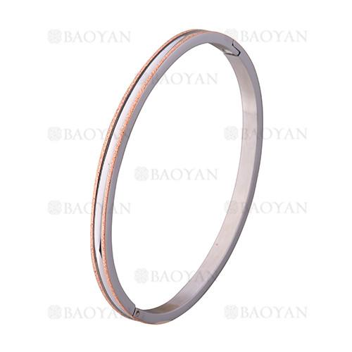 pulsera plateado rayas brillante dorado y rosado en acero  inoxidable -SSBTG1225550