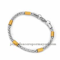 brazalete de estilo simple en acero plateado inoxidable para mujer -SSBTG953652