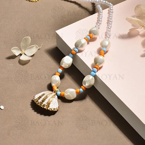 conjunto de collar y aretes en acero inoxidable -SSNEG142-15101