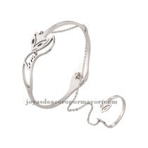 juego de pulsera anillo de modelo zorro acero inoxidable