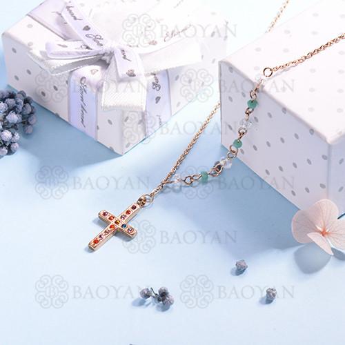 Collar de multi color en acero inoxidable -SSNEG142-14674
